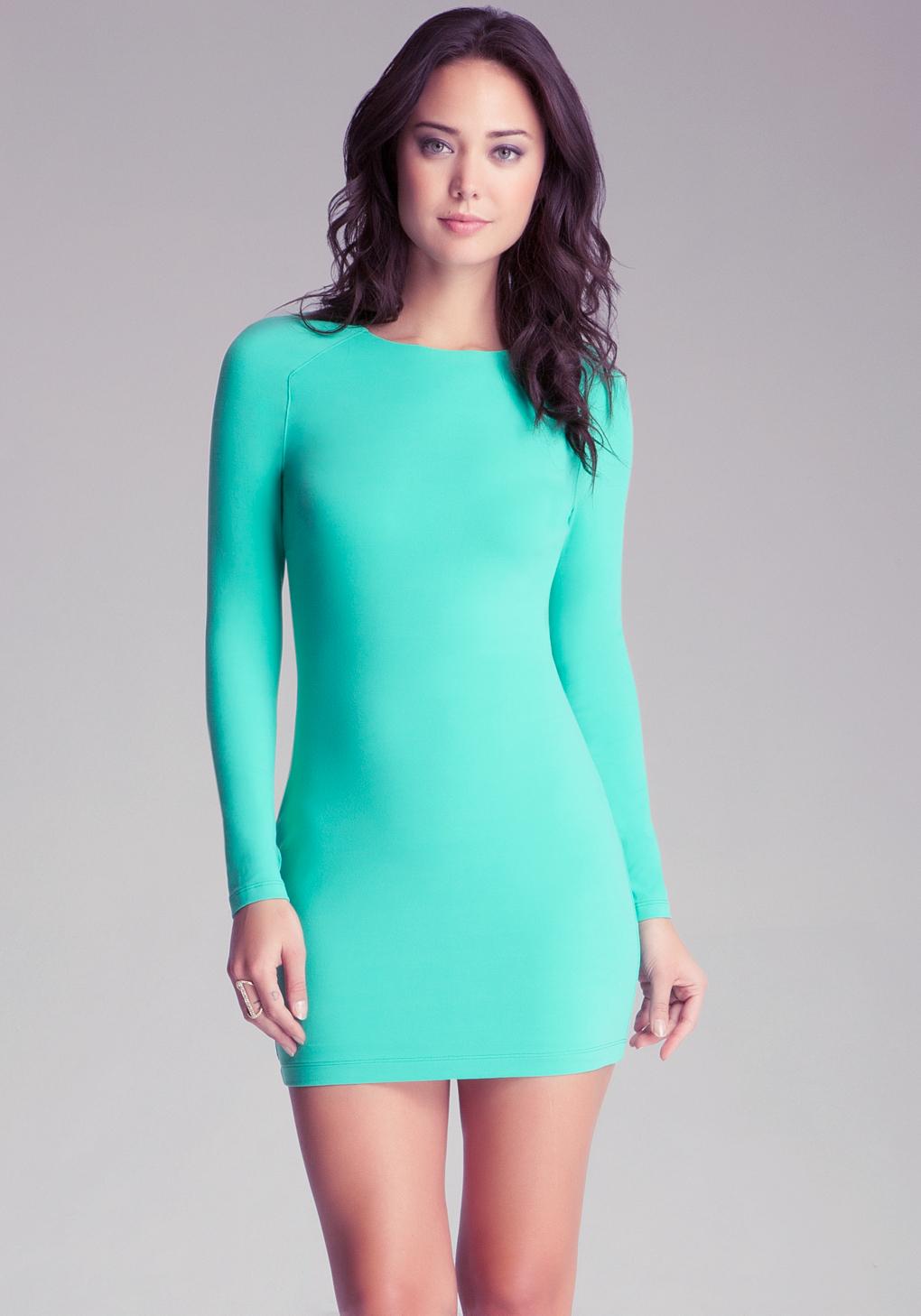 Lyst Bebe Long Sleeve Bodycon Dress In Green