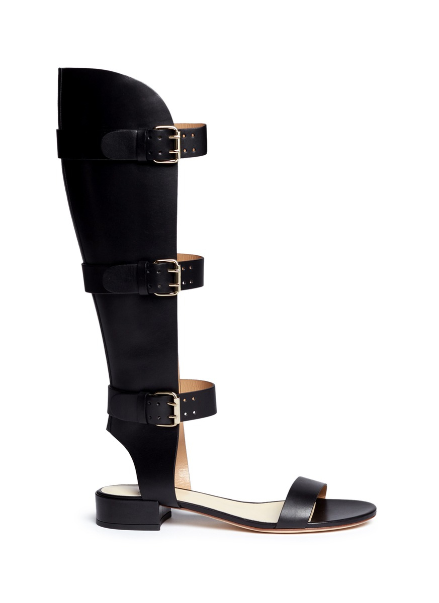 Francesco Russo Leather and printed calf hair gladiator sandals xQ8P99rE
