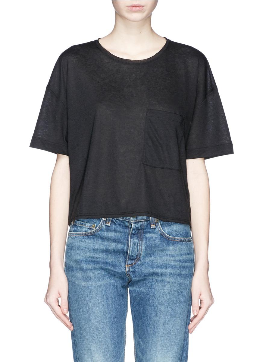 Lyst rag bone 39 hollins 39 linen blend pocket t shirt in for Rag and bone t shirts