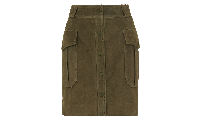 whistles suede pocket skirt in khaki lyst
