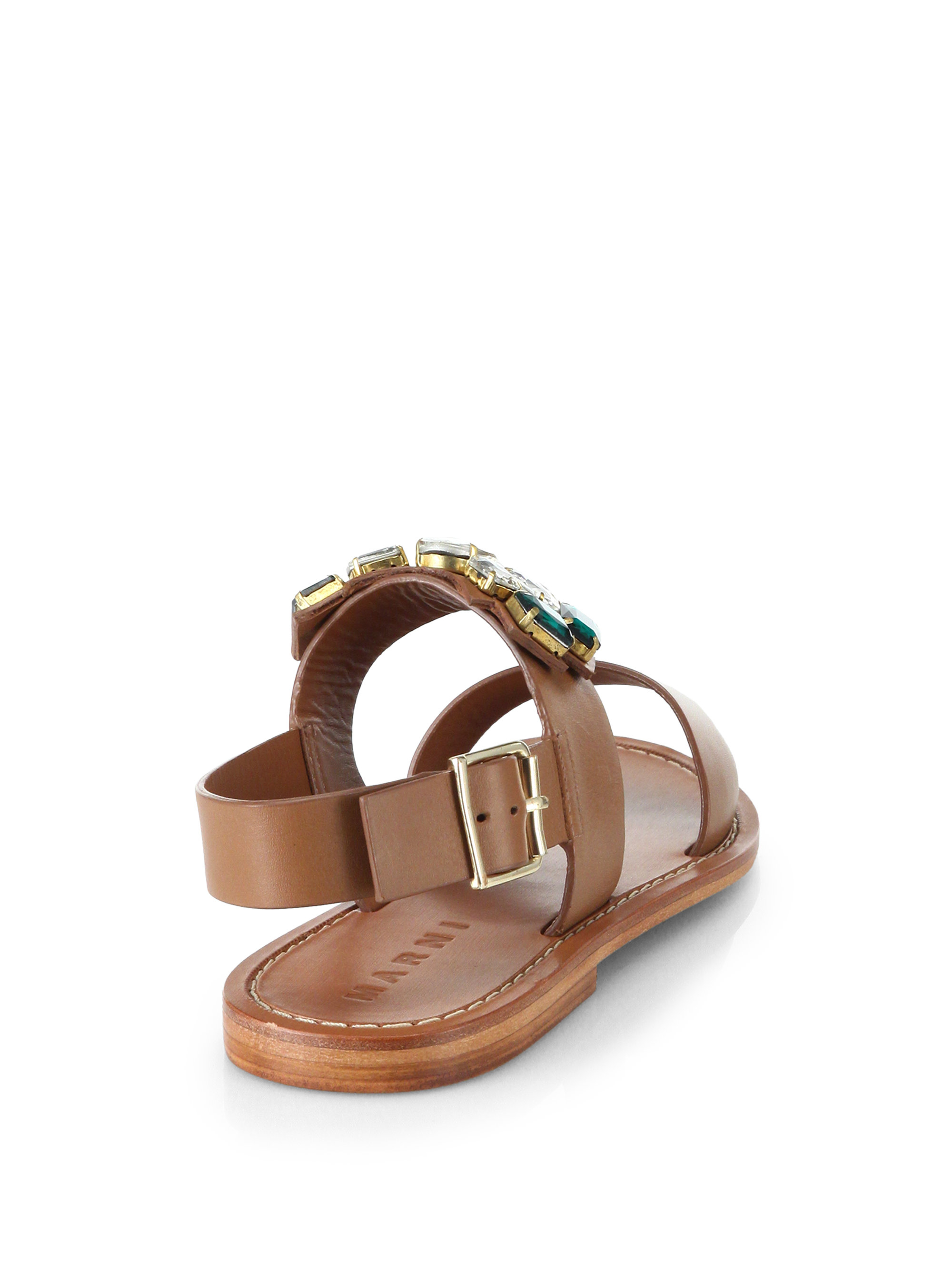 f8b399729 Lyst - Marni Jeweled Leather Sandals in Brown