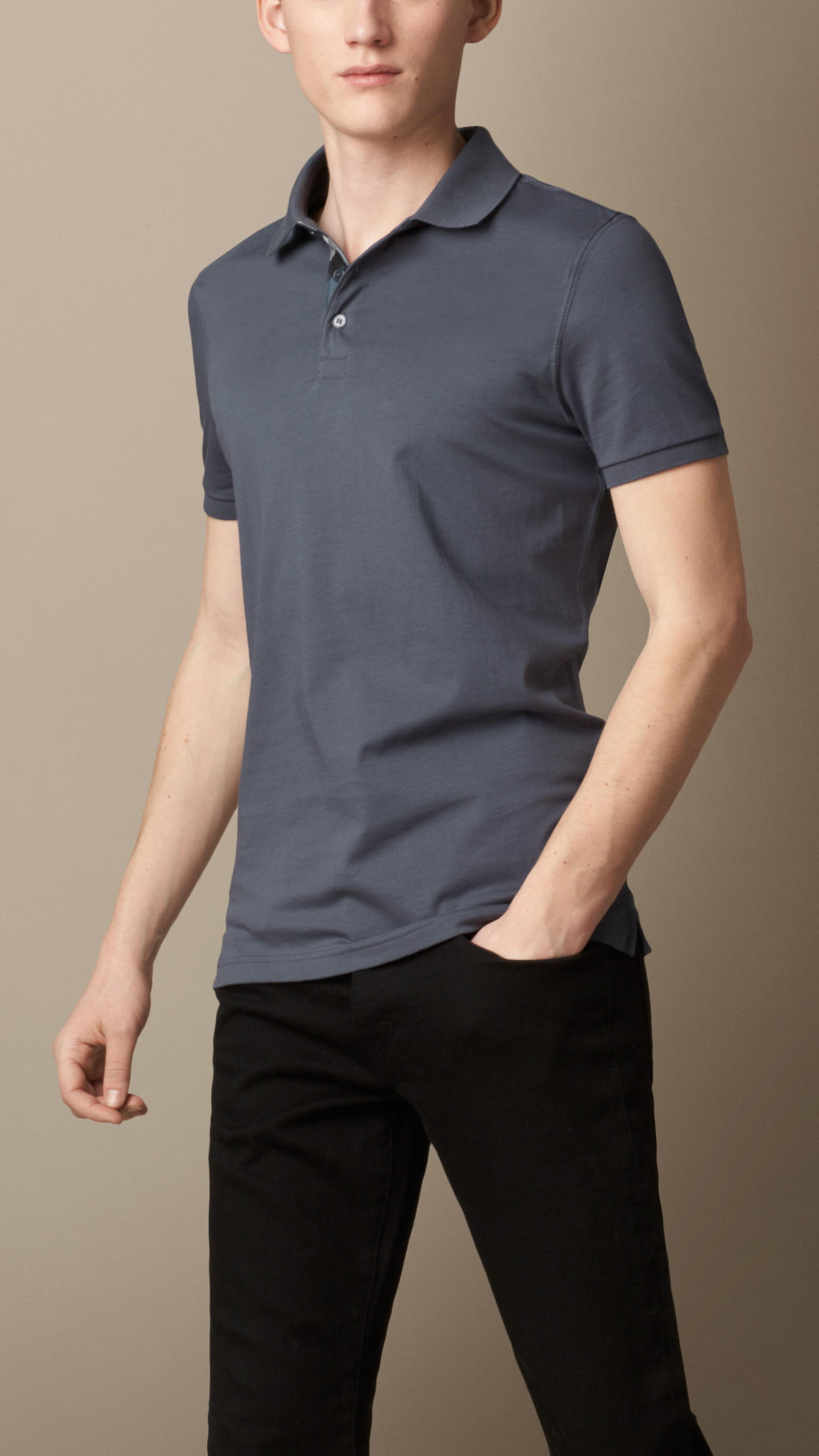 Burberry liquid soft cotton polo shirt in blue for men for Soft cotton dress shirts