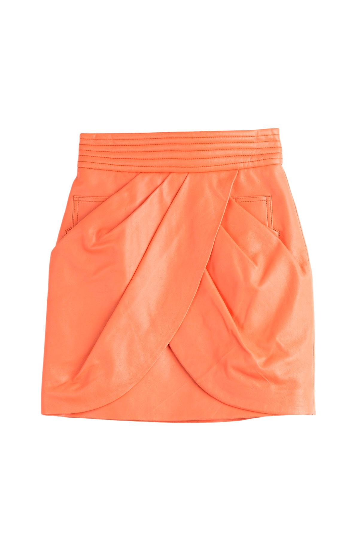 balmain leather skirt orange in orange lyst