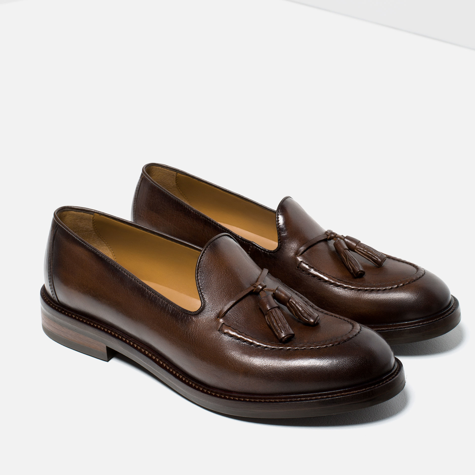 Rubber Rings For Men >> Zara Leather Loafers With Tassels in Brown for Men | Lyst