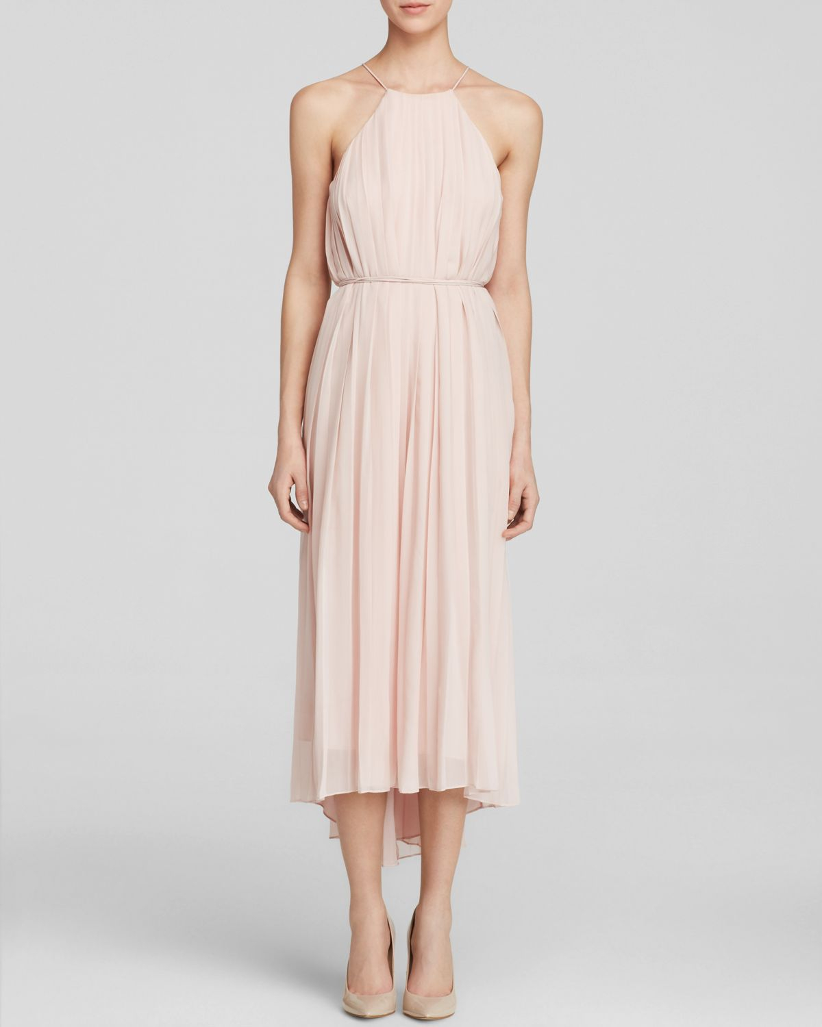 Tibi Dress - Simone Pleated Silk Midi in Pink  Lyst
