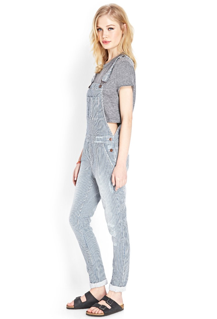 Forever 21 Railroad Cutie Denim Overalls In Blue Lyst