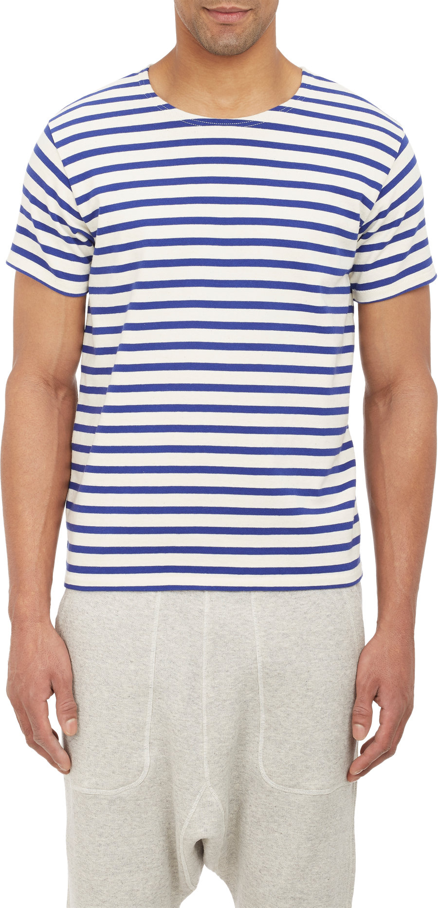nlst nautical stripe t shirt in white for men ivory lyst
