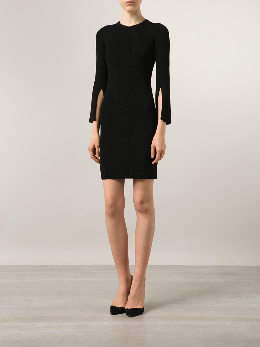 Black bodycon dress with slit spring fashion