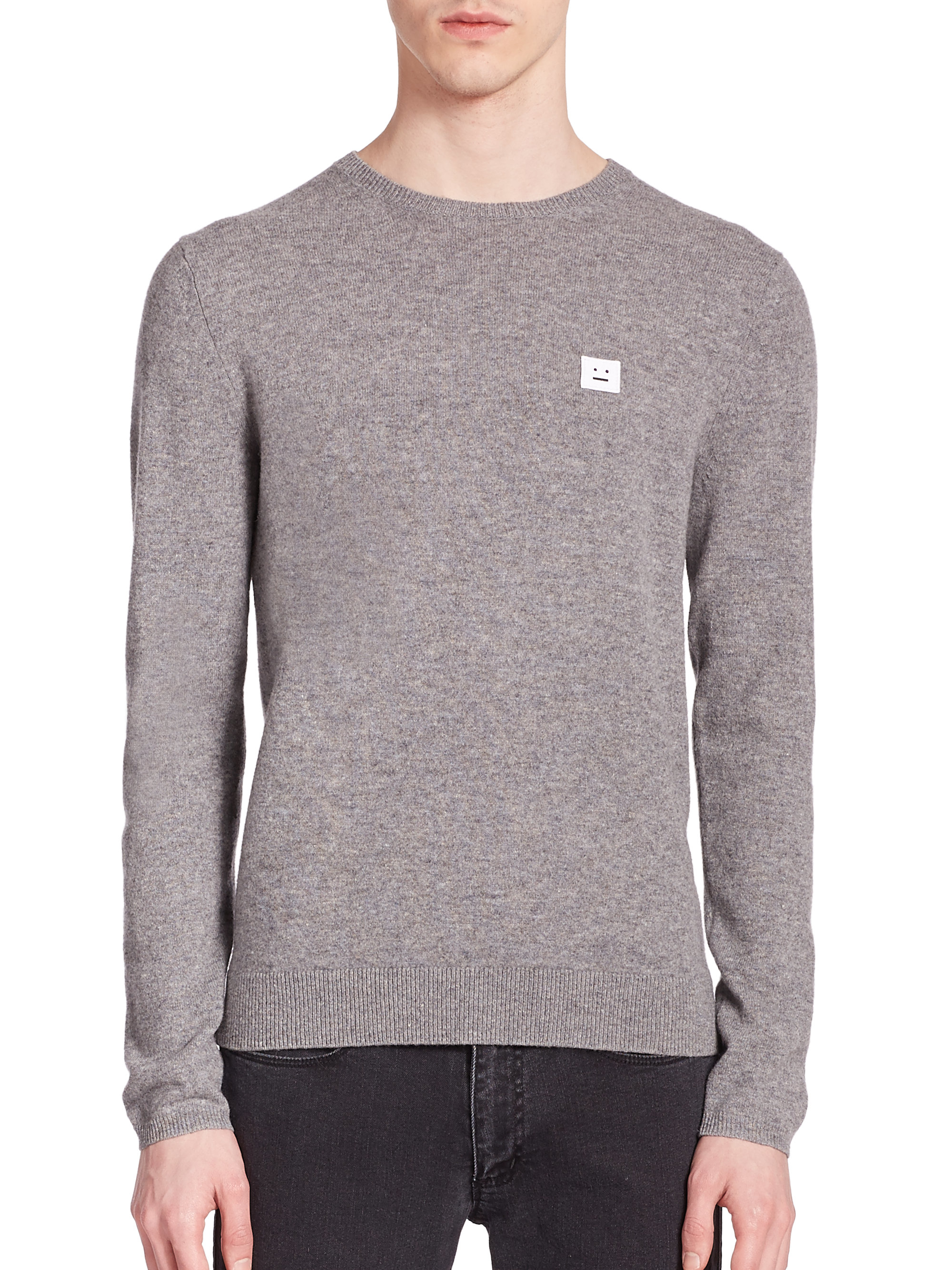 acne studios dasher face patch sweater in gray for men lyst. Black Bedroom Furniture Sets. Home Design Ideas