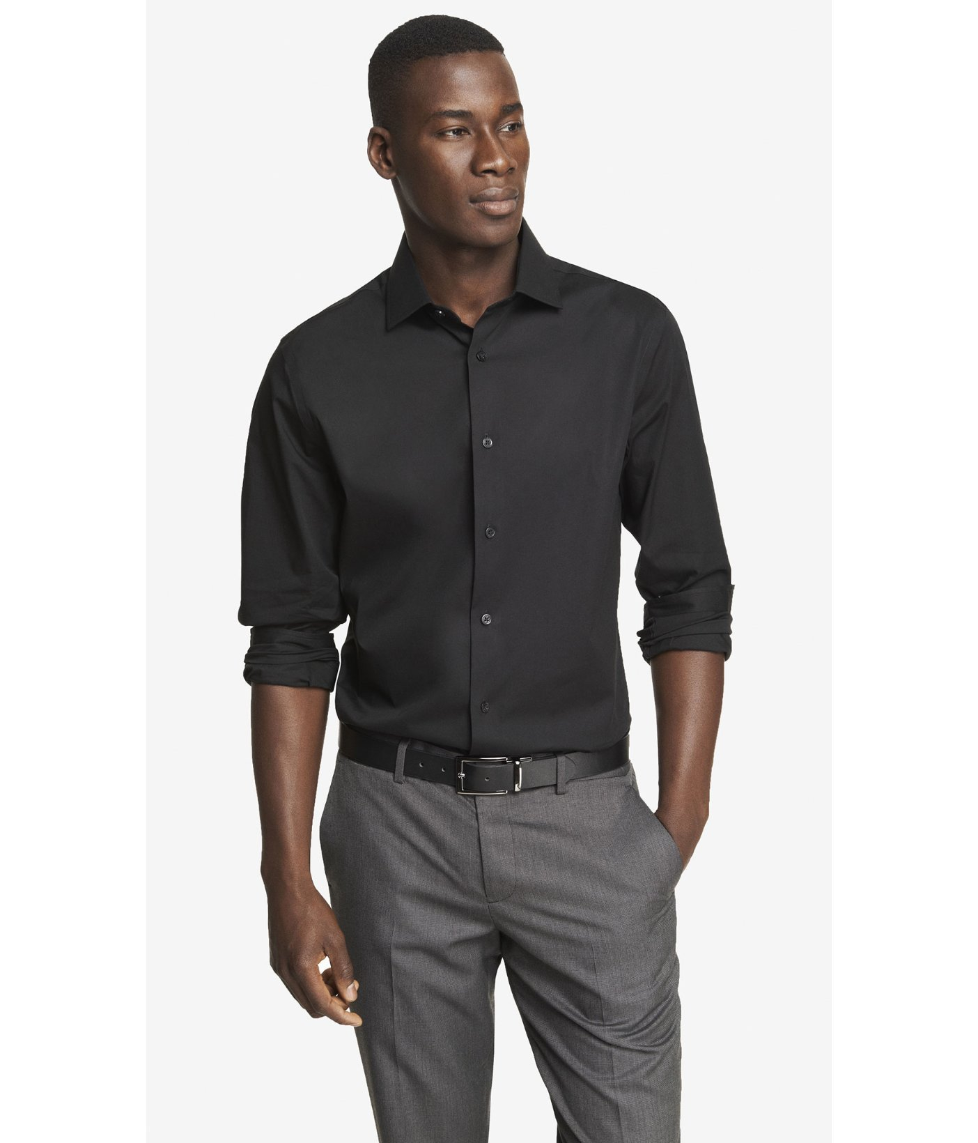 Express modern fit spread collar 1mx shirt in black for for Modern fit dress shirt