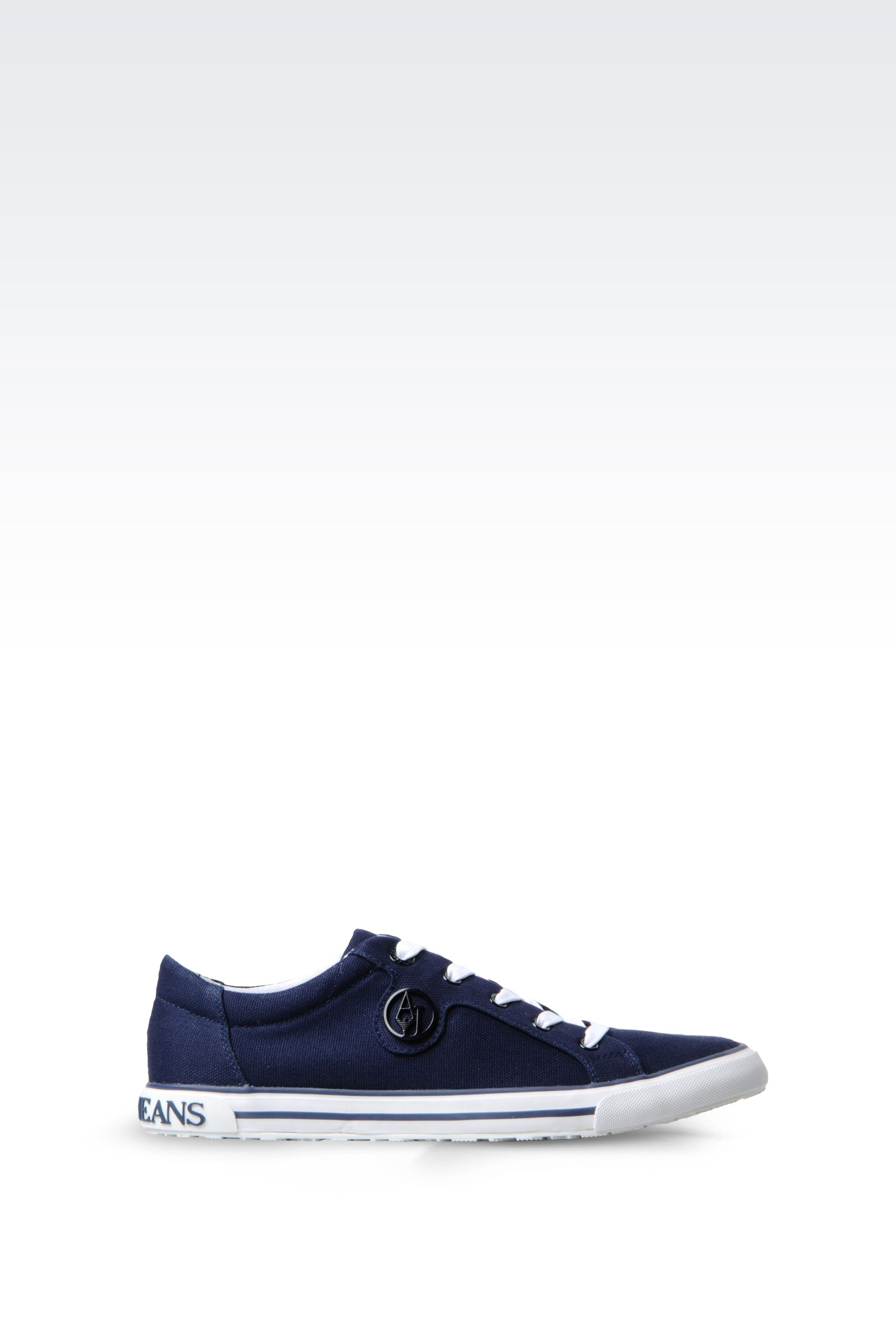 armani jeans canvas sneaker in blue dark blue save 53. Black Bedroom Furniture Sets. Home Design Ideas