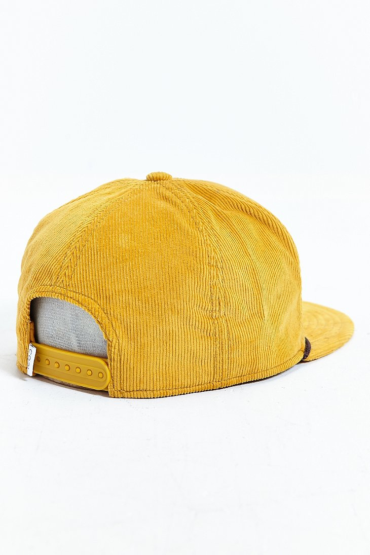 Lyst - Coal The Wilderness Corduroy Snapback Hat in Yellow for Men 89c9adb7530