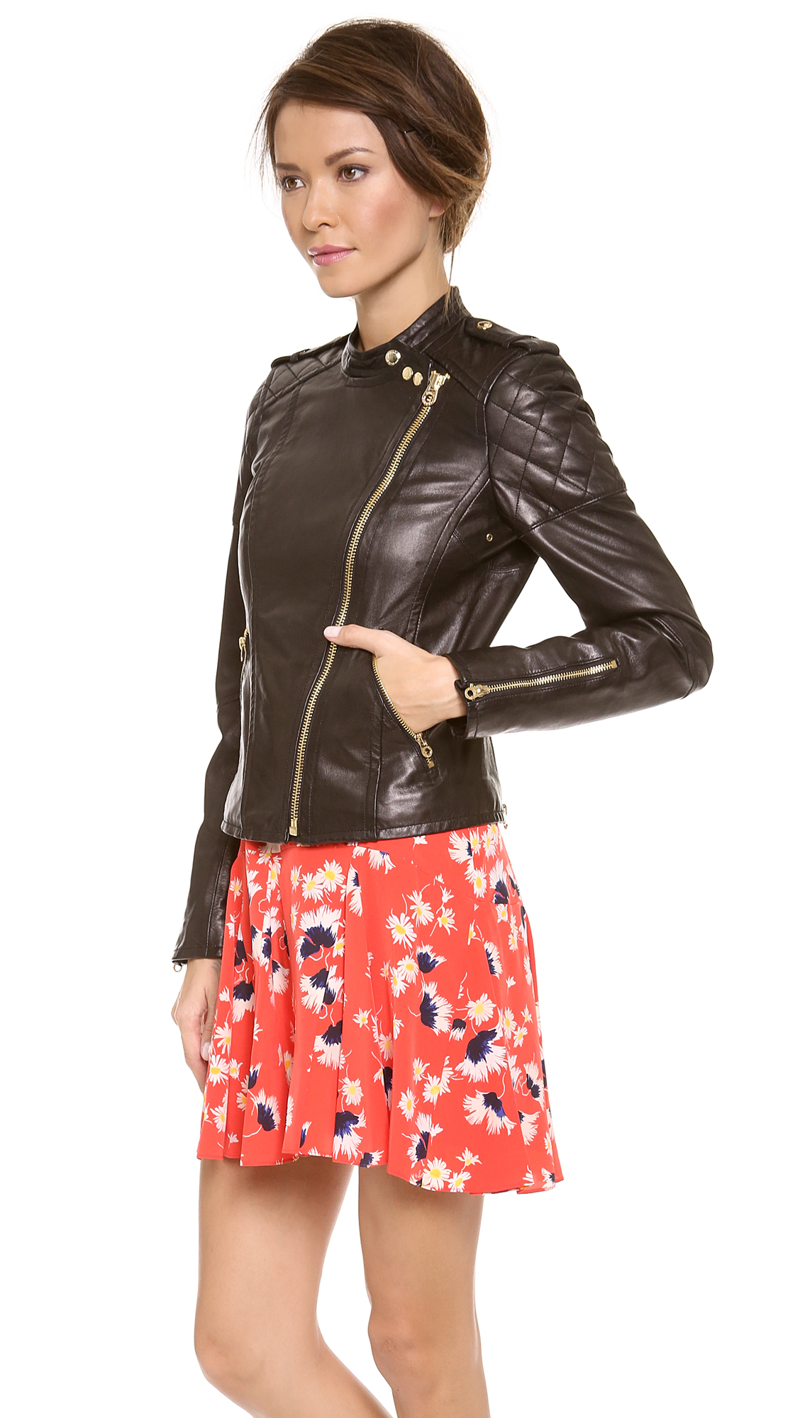Lyst Juicy Couture Leather Moto Jacket In Black