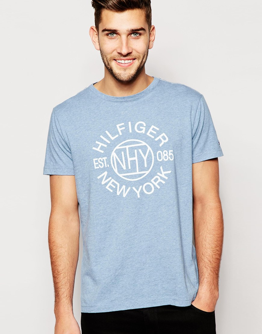 4a5463e92 Tommy Hilfiger T-shirt With New York Print in Blue for Men - Lyst