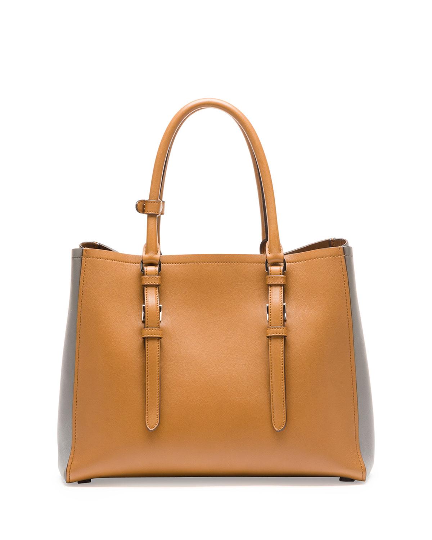 Lyst Prada City Calfskin Bicolor Tote Bag In Natural
