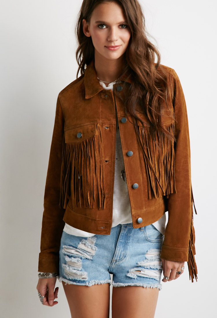 d7e0bab7016 Lyst - Forever 21 Suede Fringe Jacket in Brown