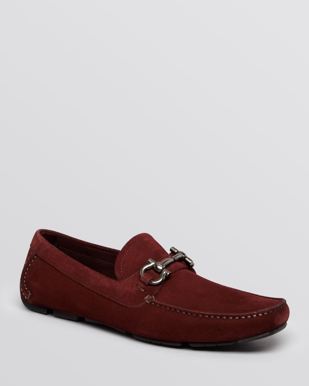 Ferragamo Parigi Suede Driving Loafers in Red for Men ...