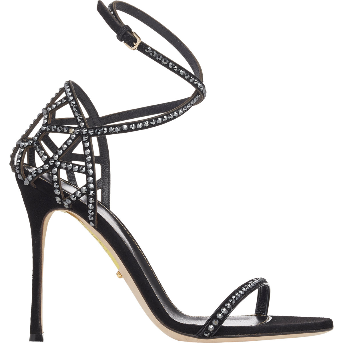 sergio rossi puzzle crisscross strap sandals in black lyst. Black Bedroom Furniture Sets. Home Design Ideas