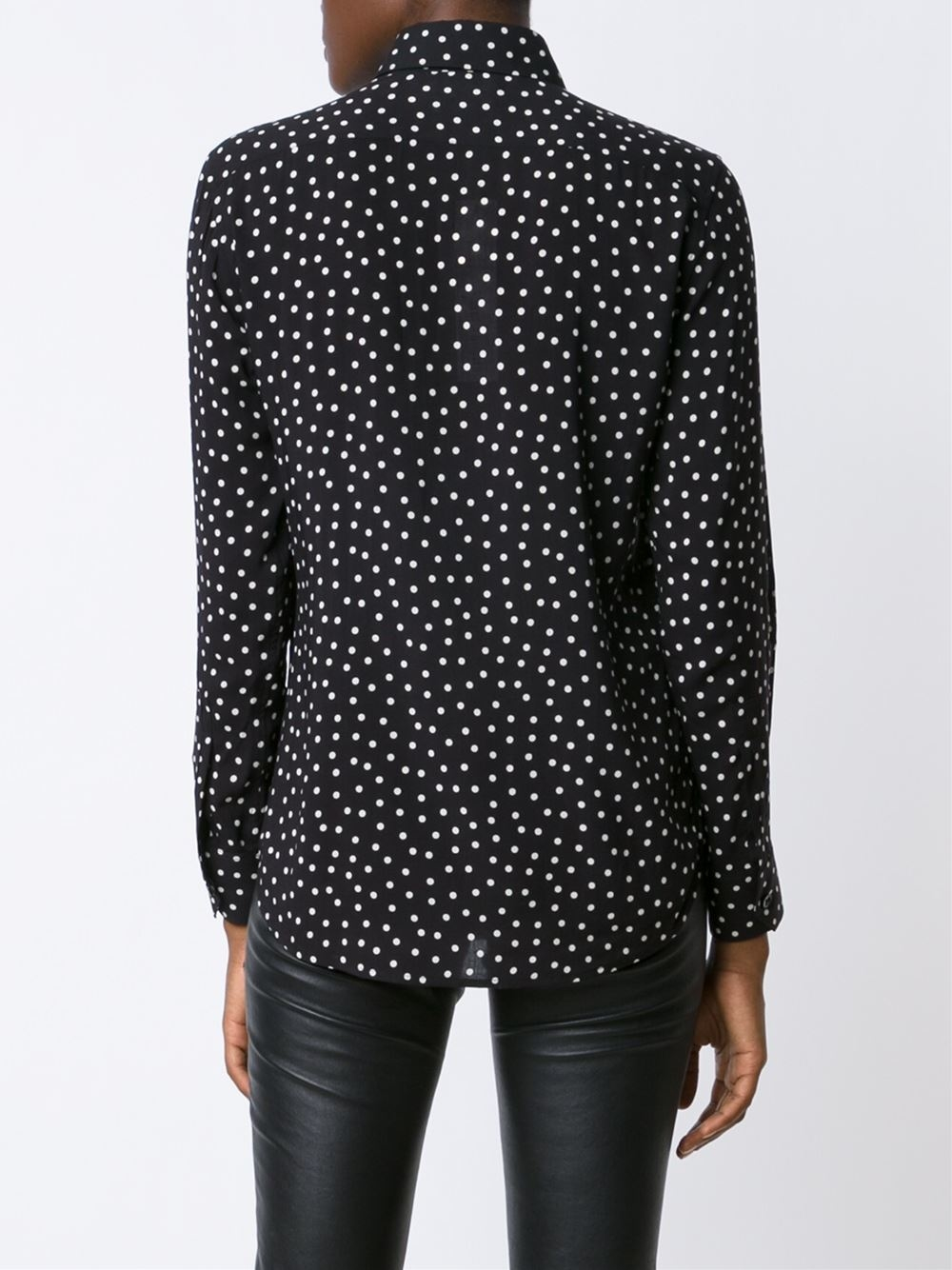 c54f158d04c4dc Lyst - Saint Laurent Polka Dot Dress Shirt in Black