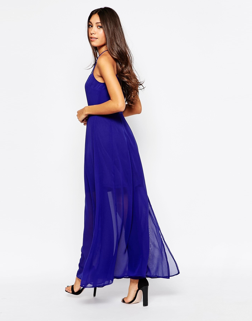on maxi dress with lace top and sheer skirt in