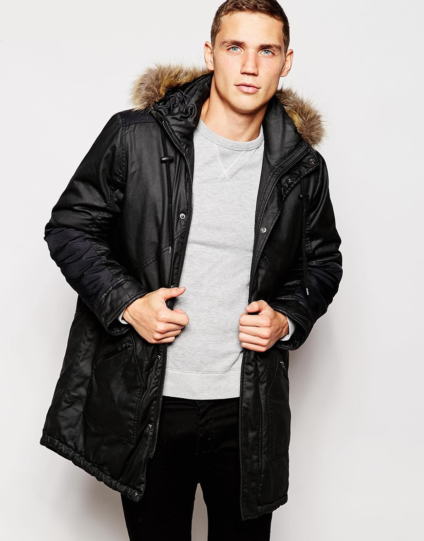 Another influence Nother Influence Coated Faux Fur Hooded Parka ...