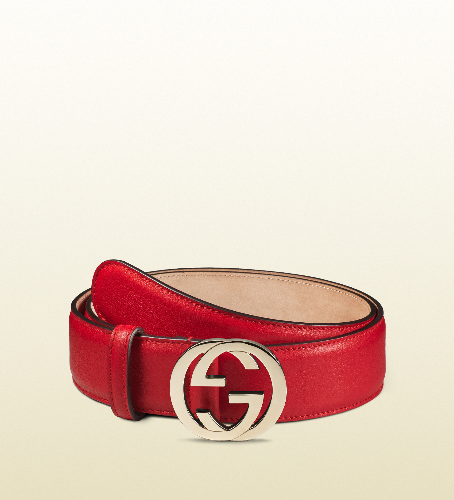 Gucci Leather Belt With Interlocking G Buckle in Red | Lyst