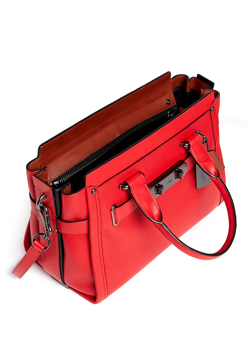 Lyst - COACH X Blitz  swagger  Medium Leather Tote in Red 9bfe9e419de6c