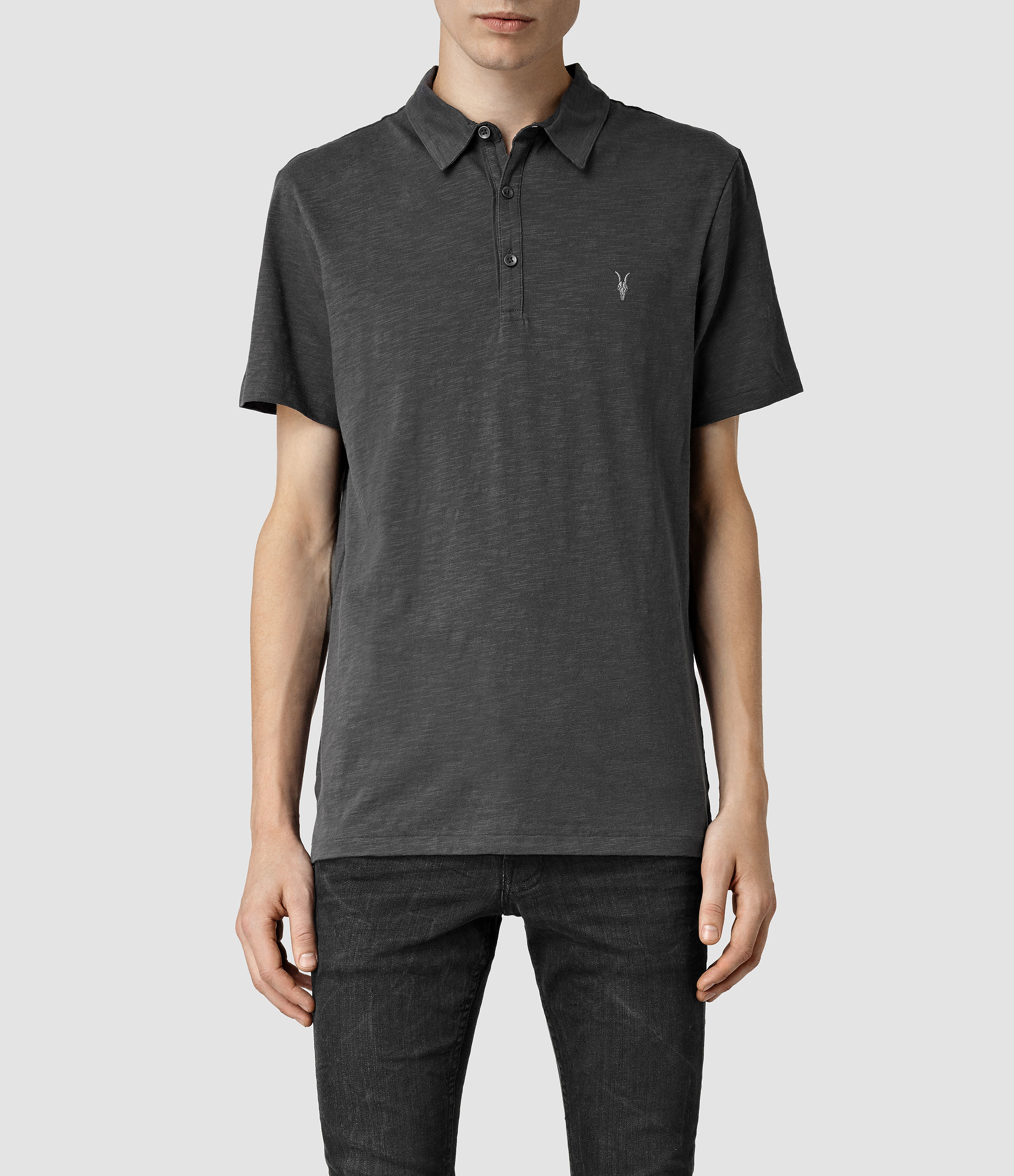 Allsaints soul polo shirt in gray for men washed black for All saints polo shirt