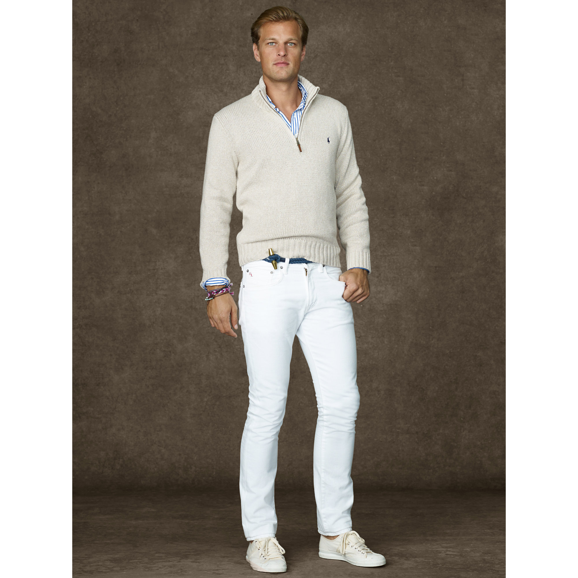 7d356a87 ... where to buy lyst polo ralph lauren cotton half zip sweater in natural  for men 2d7c1