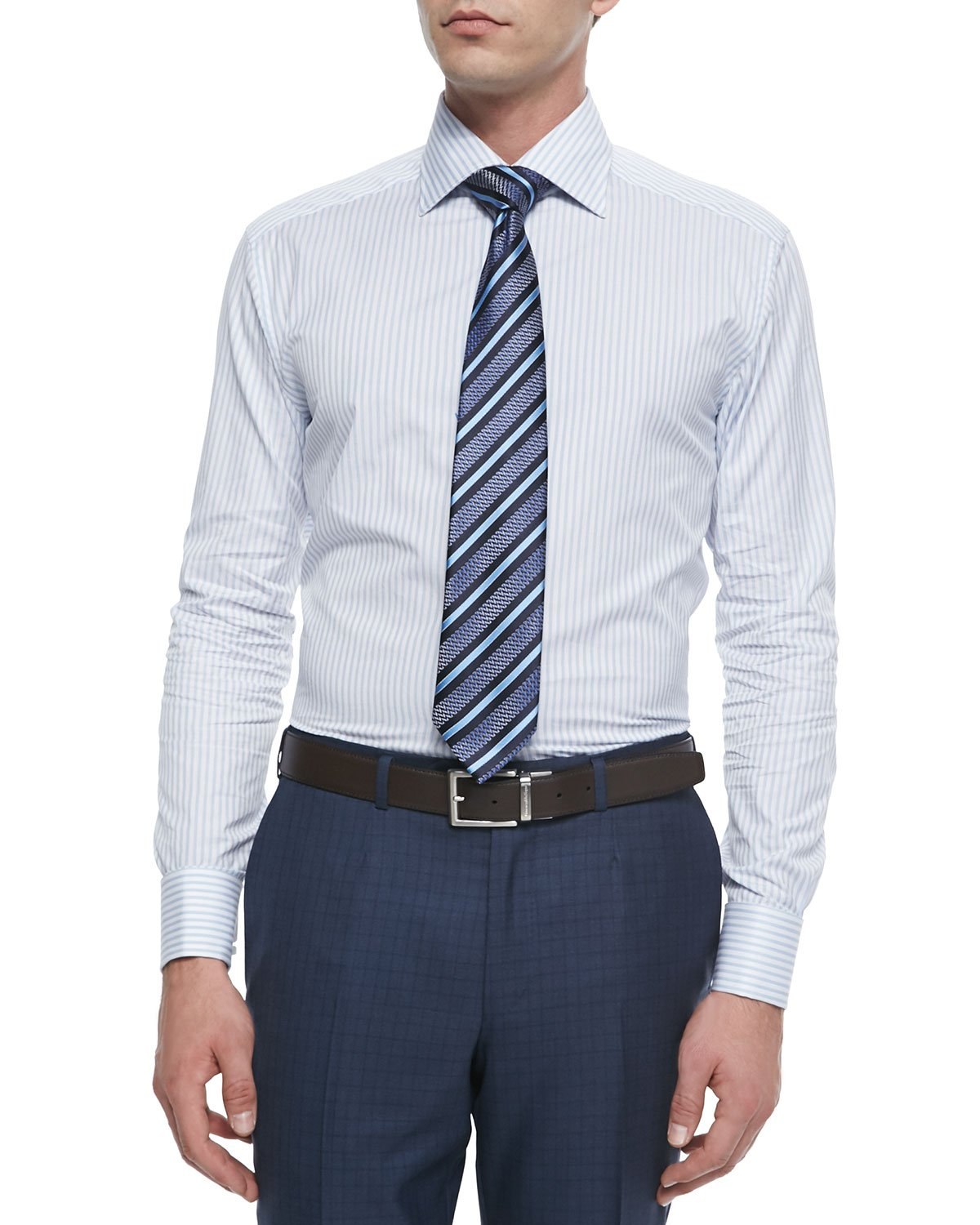 Lyst Ermenegildo Zegna Striped French Cuff Dress Shirt