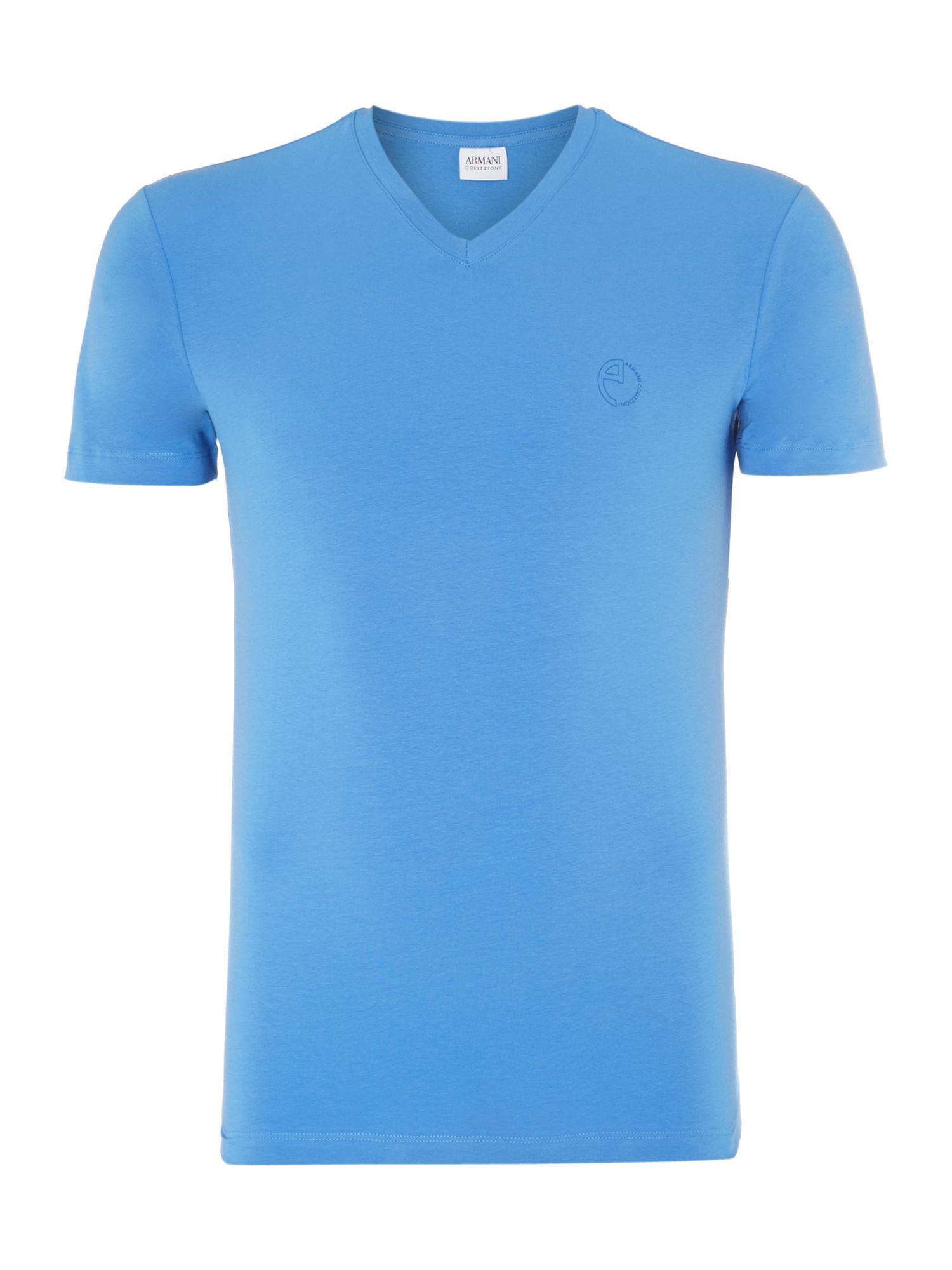 Armani vneck logo tshirt in blue for men lyst for Logo t shirt dress