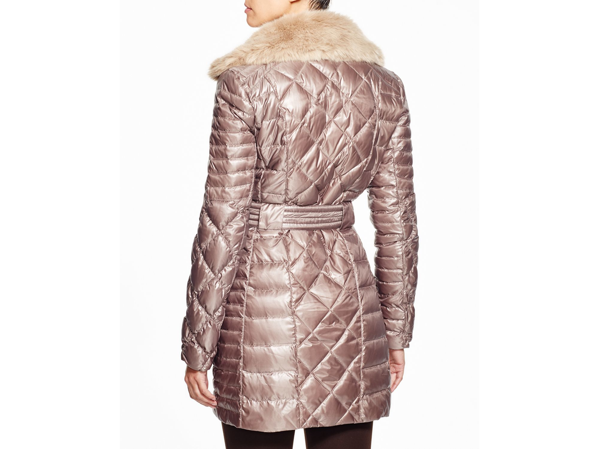 Lyst Via Spiga Faux Fur Trim Quilted Coat In Pink