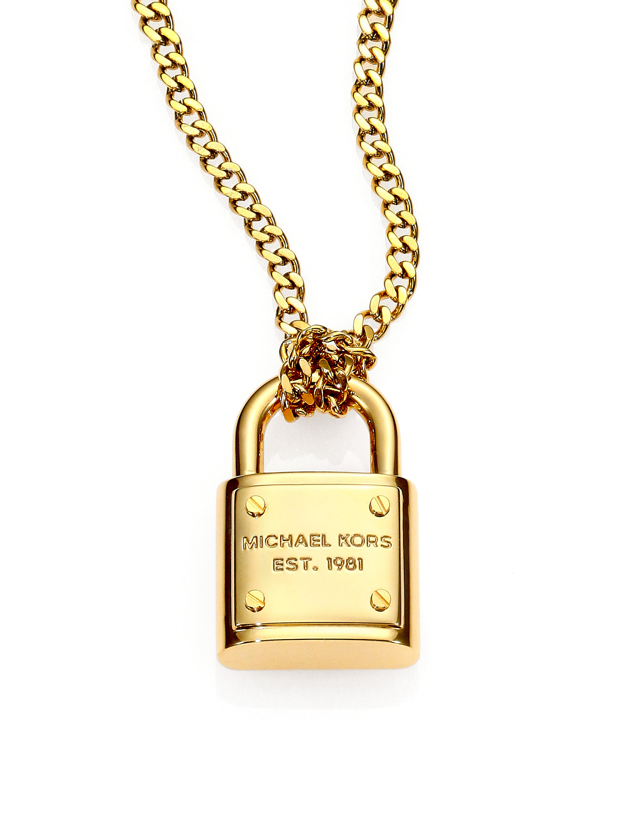 Lyst Michael Kors Logo Padlock Chain Link Necklace In