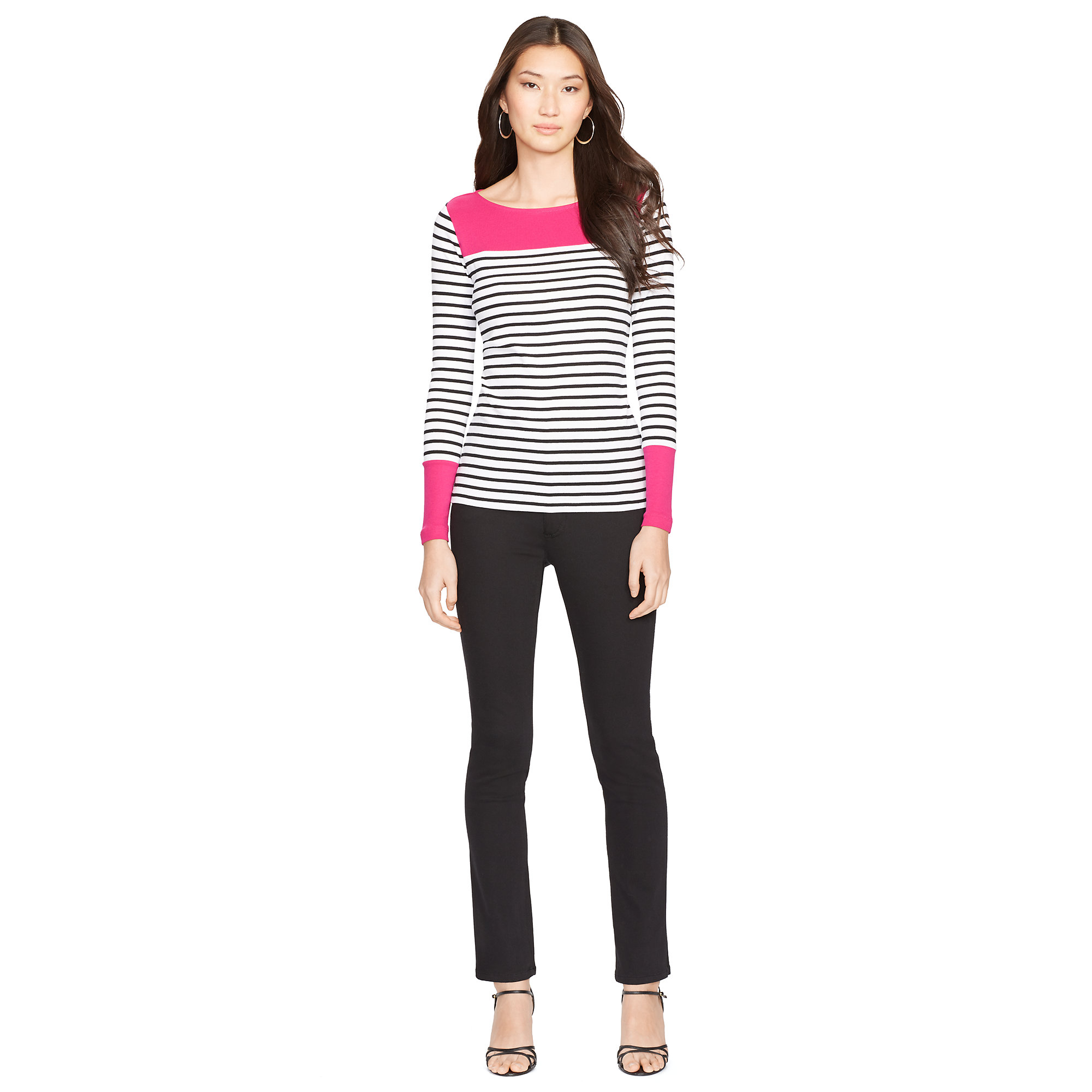 ralph lauren striped ballet neck top in pink white black cruise pink lyst. Black Bedroom Furniture Sets. Home Design Ideas