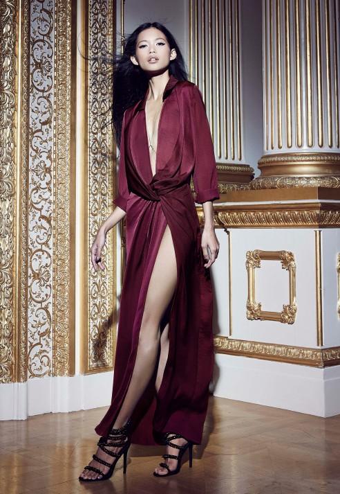 Satin maxi dress with split
