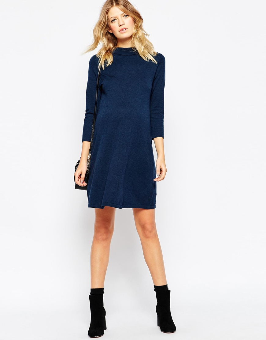 783bec7f1a1 ASOS Maternity Knitted Swing Dress With Buckle Neck Detail in Blue ...