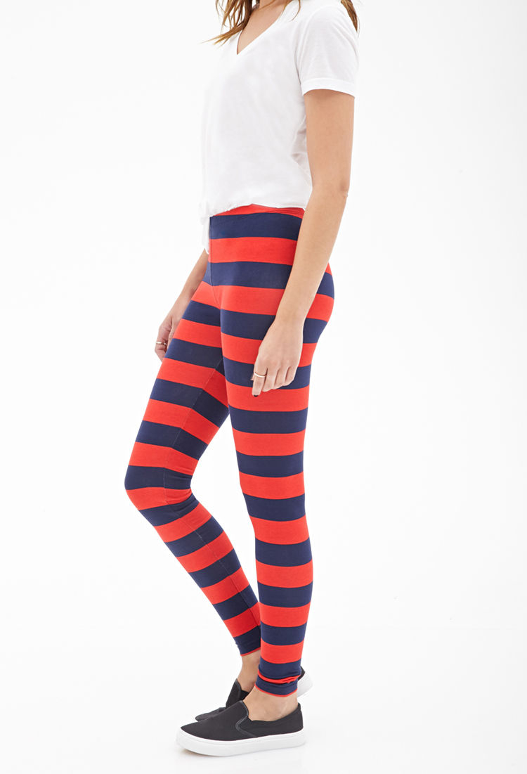 Forever 21 Rugby Striped Leggings in Blue | Lyst