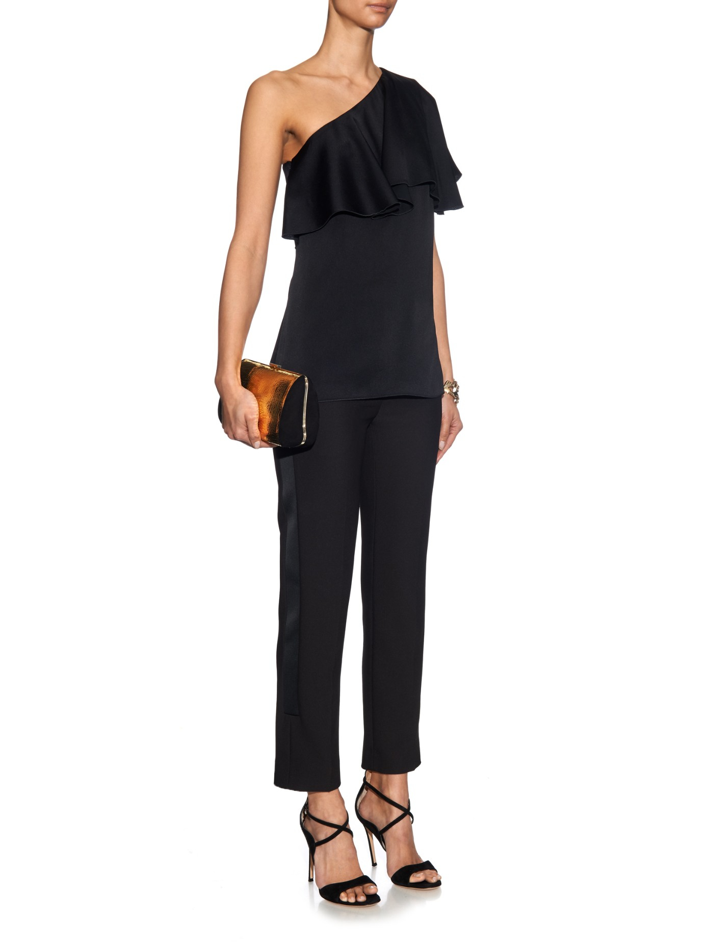 7faeb04aa67ef Lanvin One-shoulder Washed-satin Ruffled Top in Black - Lyst