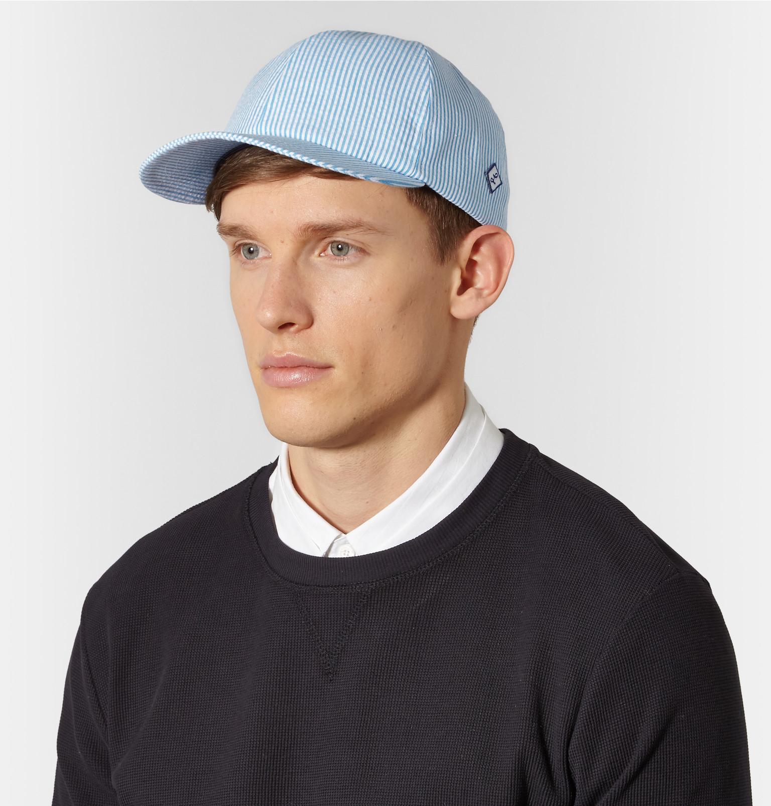 Larose Seersucker Cotton Baseball Cap In Blue For Men Lyst