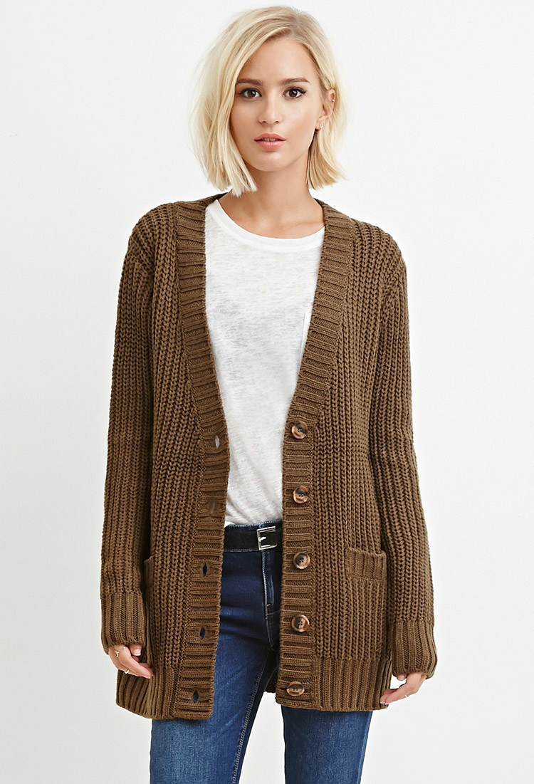 Forever 21 Waffle Knit Cardigan in Green | Lyst