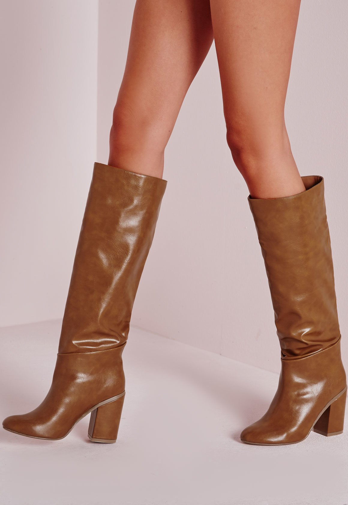 ae089ce3061 Missguided High Leg Patent Boots Tan in Brown - Lyst