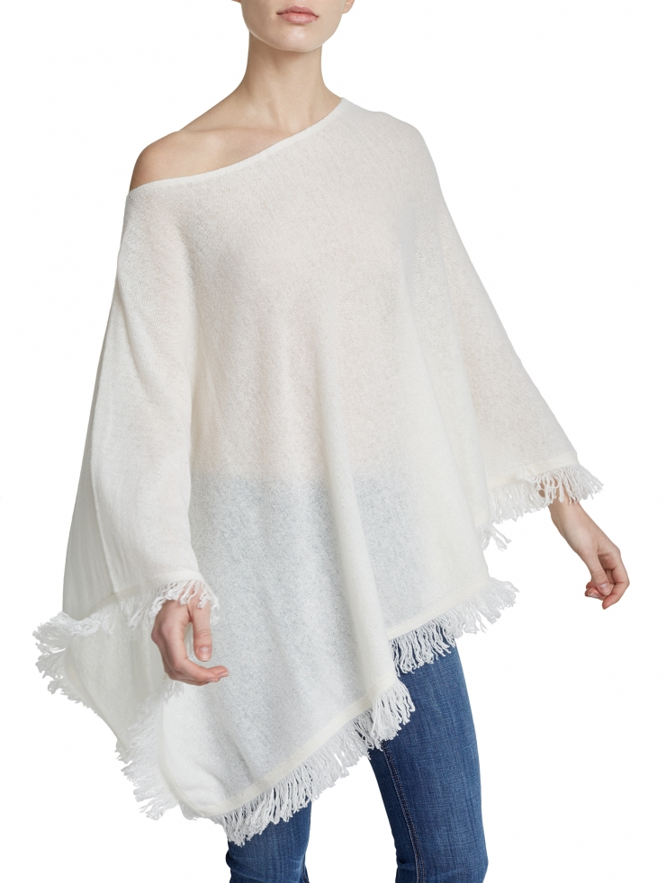 Lyst - White + warren Cashmere Fringe Wave Poncho in White