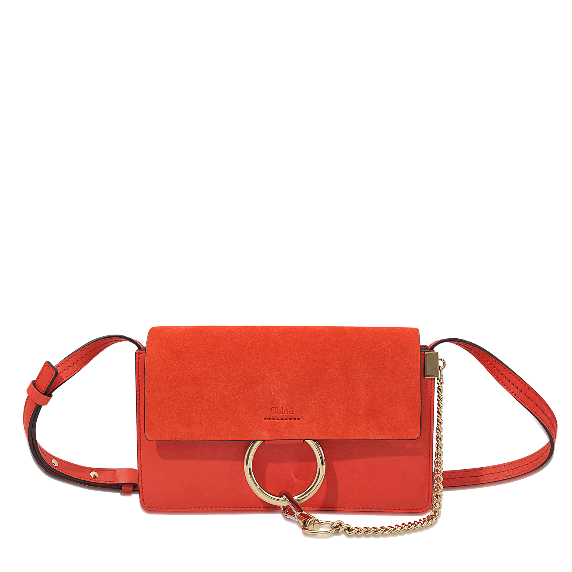 Chloé Faye Leather Cross-Body Bag in Red