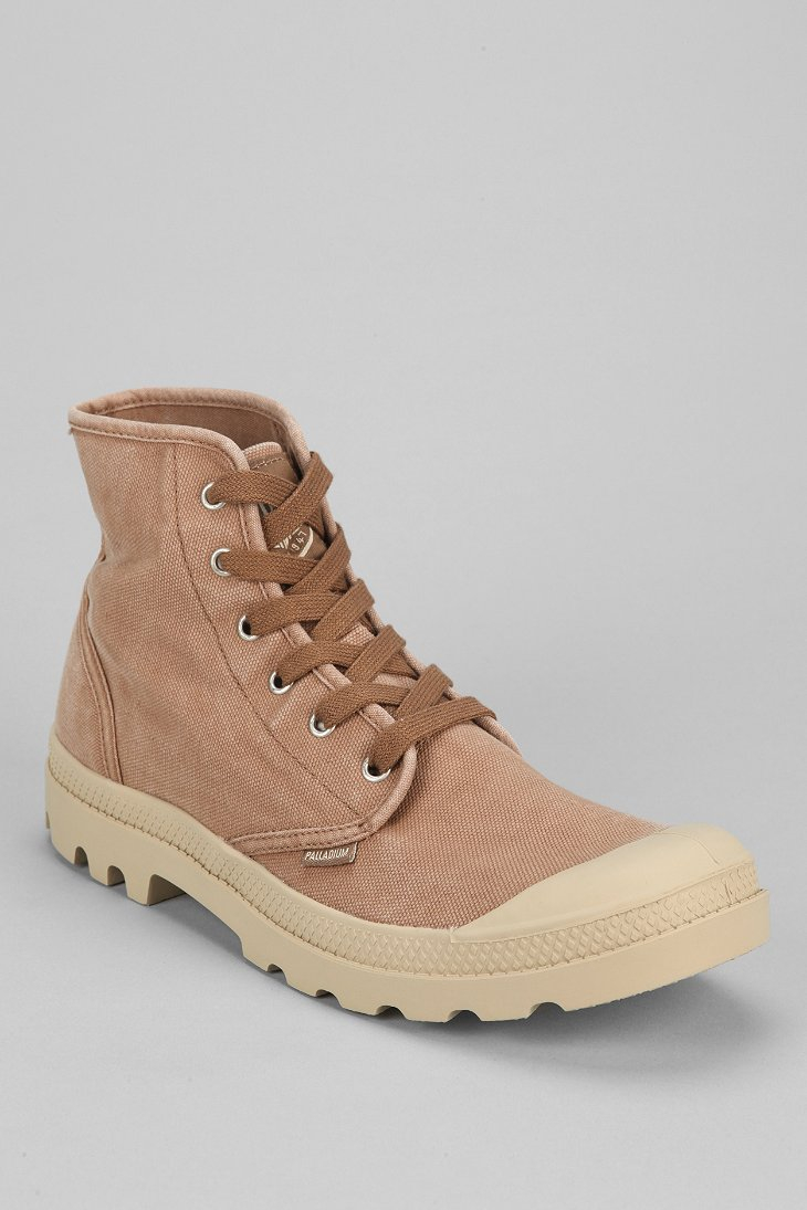 palladium pa hightop canvas boot in brown for