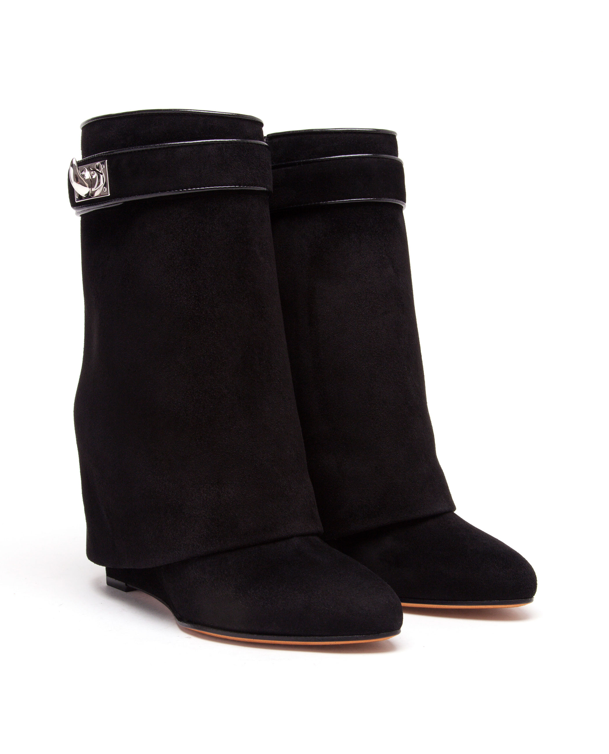 Lyst - Givenchy Shark Lock Suede Wedge Ankle Boots in Black d0b93d515