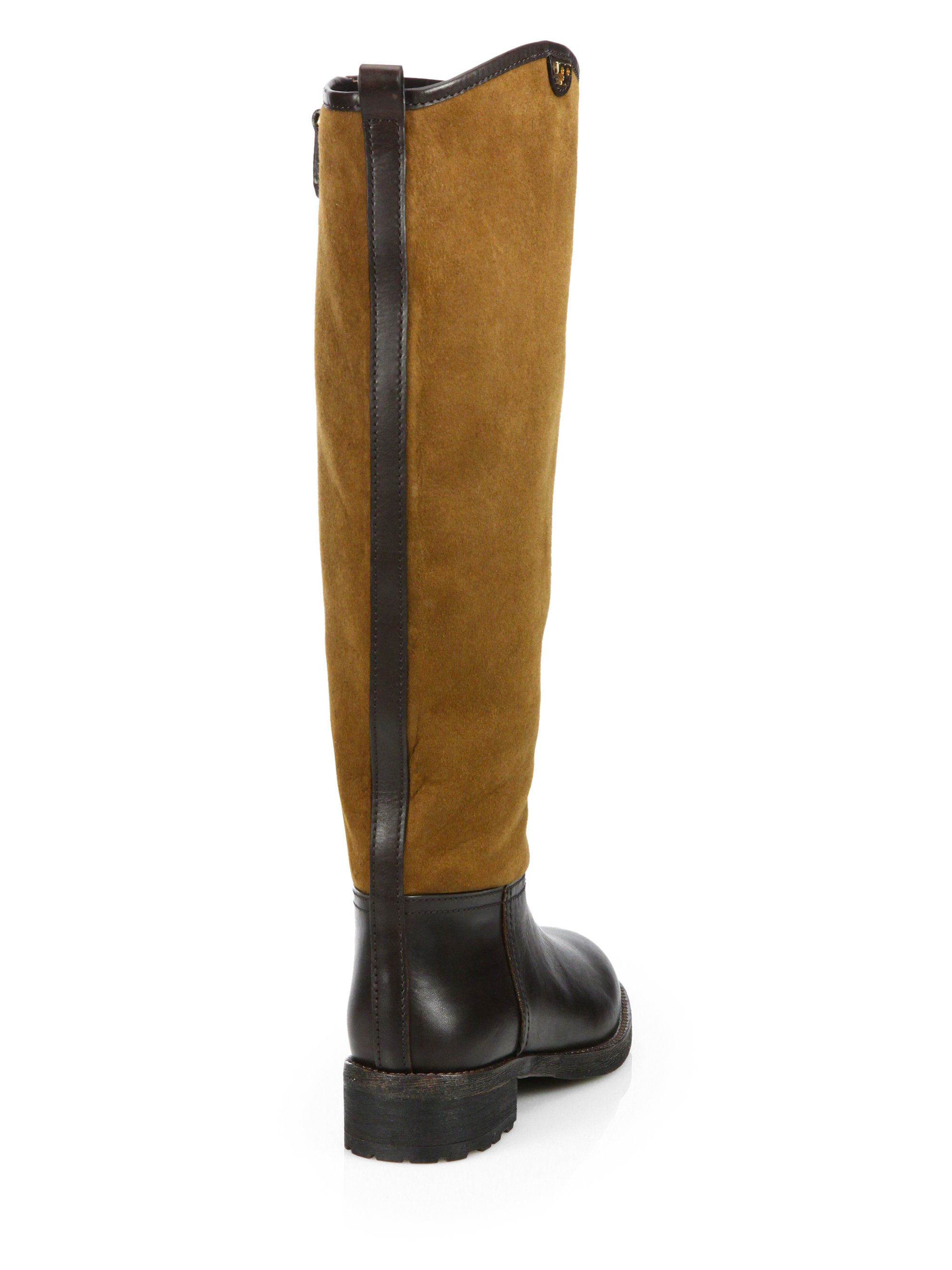 02ee0cc96 Lyst - Tory Burch Kensington Shearling-Lined Knee-High Riding Boots ...