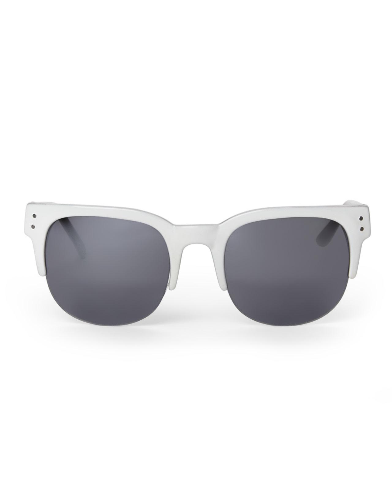 black and gold aviator sunglasses  Cole haan White Half-Rim Wayfarer Sunglasses in White