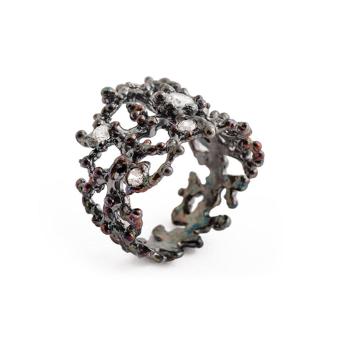 arosha luigi taglia black coral sterling silver ring in