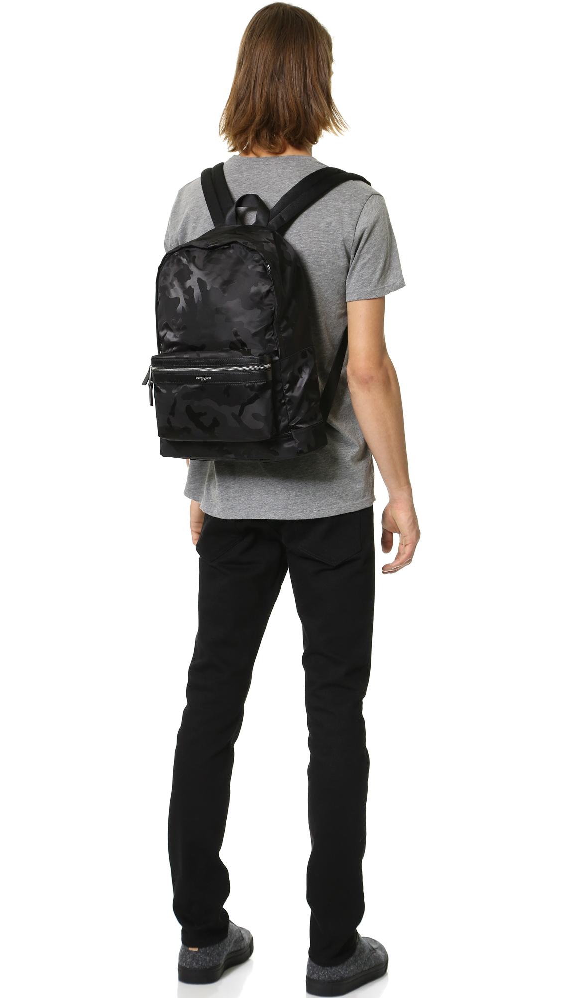 eed6bfef26f6 Michael Kors Kent Camo Nylon Backpack in Black for Men - Lyst