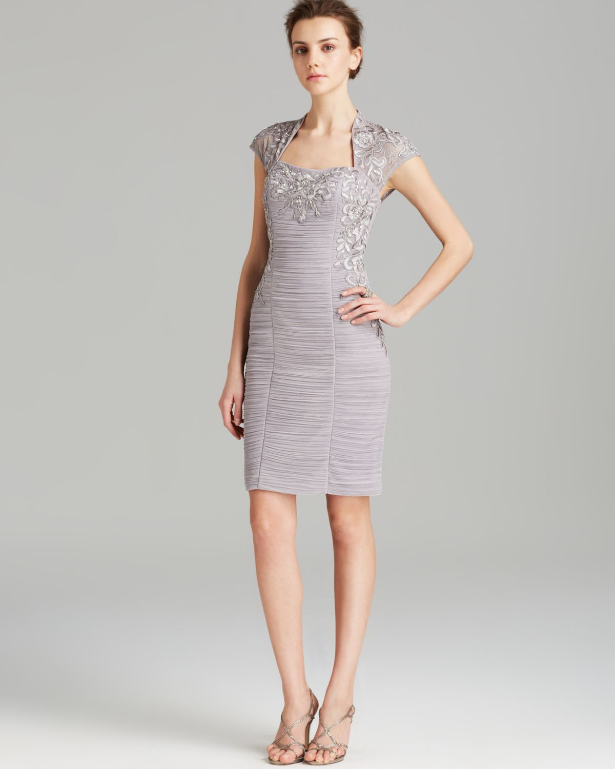 Sue Wong Dress Square Neck Cap Sleeve Beaded In Gray Lyst